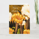 Card Happy Birthday Gold Yellow Floral card