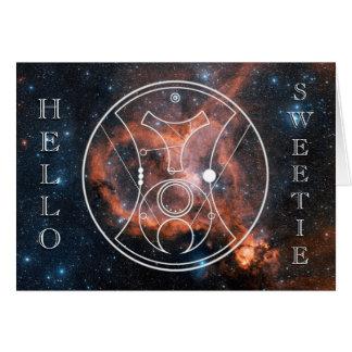 Card: Hello, Sweetie! - Heart Nebula Greeting Card