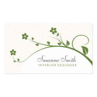 Card in target with green flowers and chevrón business cards