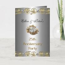 Card Invitation 25th Wedding Anniversary Party Gol