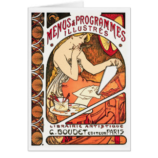 Card/ Invitation: Alphonse Mucha -  Menus Card