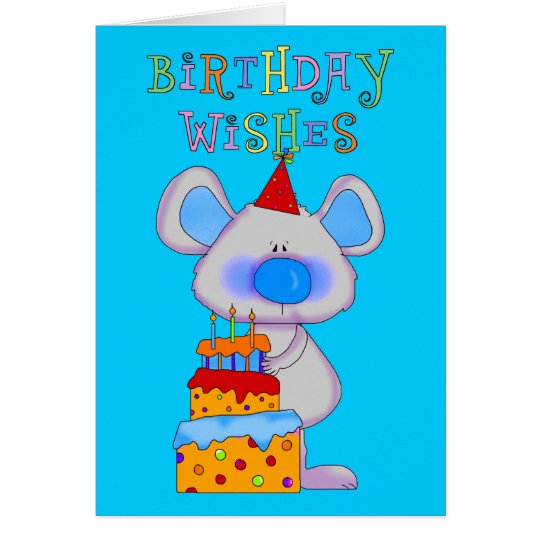 Card Kid's Boys Happy Birthday Wishes Mouse Cake