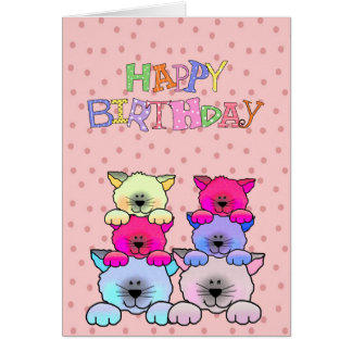 Card Kid's Girls Happy Birthday Cats 2