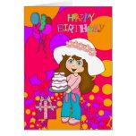 Card Kid's Girls Happy Birthday Girl Cake Balloons