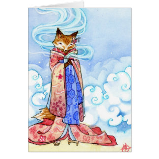 Card - Kitsune or Fox drinking tea in the clouds
