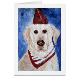 Card, Lab With Party Hat Card