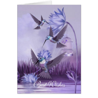 Card Lilac Hummingbirds Birds Best Wishes Birthday