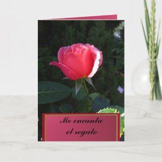 Card - Me encanta el regalo - Rosa rosa