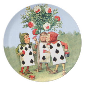 Card Men Paint The Queen's Rose Red Melamine Plate