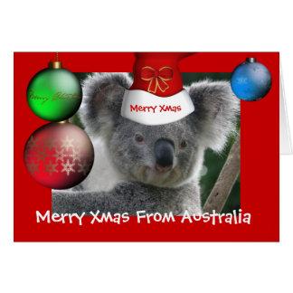 Card Merry Xmas From Australia Koala Hat Greeting Cards