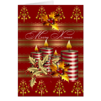 Card Merry Xmas Red Gold Christmas Candles
