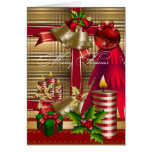 Card Merry Xmas Red Green Gold Christmas