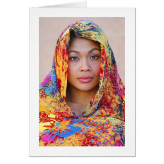 Card, MONALIZA with Scarf Greeting Card