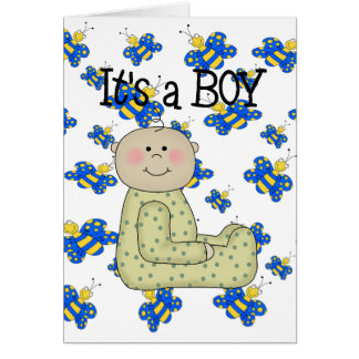 Card New Baby Boy Our New Arrival Announcement B