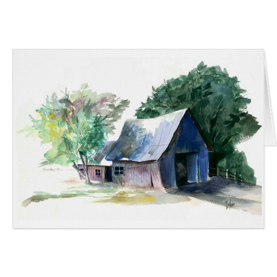 Card - note - Barn scene