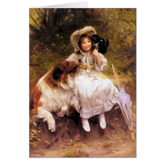 Card or Invitation:  Pet Collie Dog, Girl and Cat