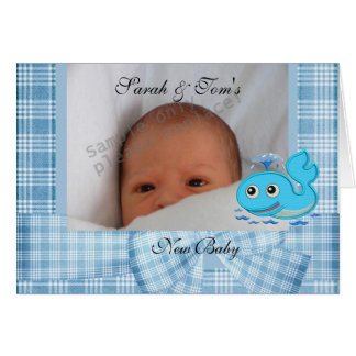 Card Our New Baby Blue Whale Boy Check