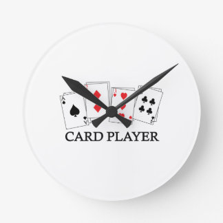 CARD PLAYER ROUND WALL CLOCK
