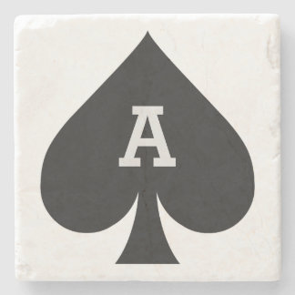 Card Player custom monogram coaster - Spade