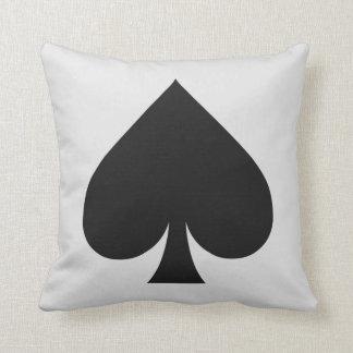 Card Player custom monogram cushion - Spade Throw Pillow