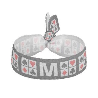 Card Player custom monogram hair tie