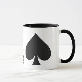 Card Player custom monogram mugs - Spades