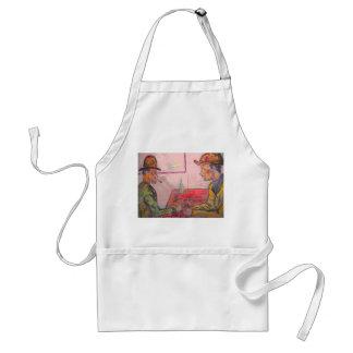 card player watercolour apron