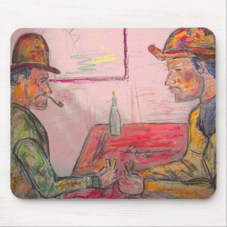 card player watercolour mouse pad