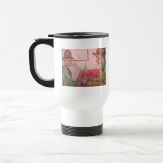 card player watercolour travel mug