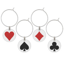 Card Player wine charm set