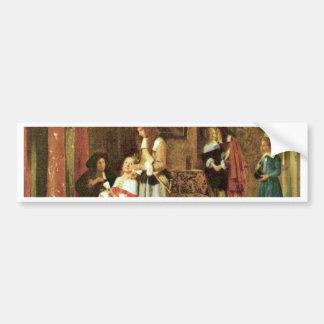 Card Players By Hooch Pieter De (Best Quality) Bumper Stickers