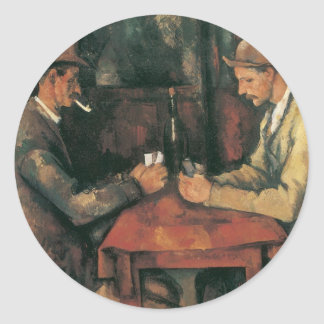 Card Players by Paul Cezanne, Vintage Fine Art Classic Round Sticker