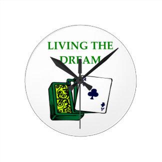 card players wall clock