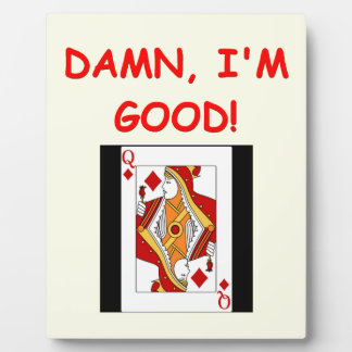 card players joke display plaque