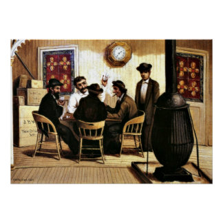 Card Players on the Steamboat, vintage painting Poster