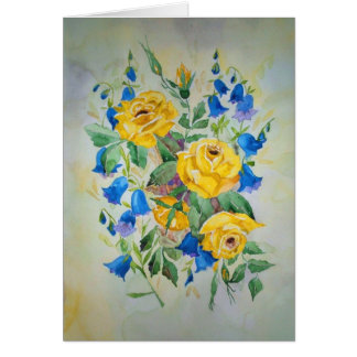 Card Roses and Blue Bells