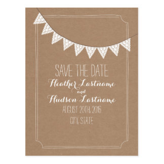 Card Stock Inspired Eyelet Bunting Save The Date Postcard
