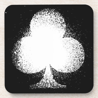 Card suit Clubs white -  grunge Coaster