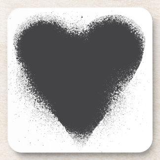 Card suit Heart - grunge in black Beverage Coaster