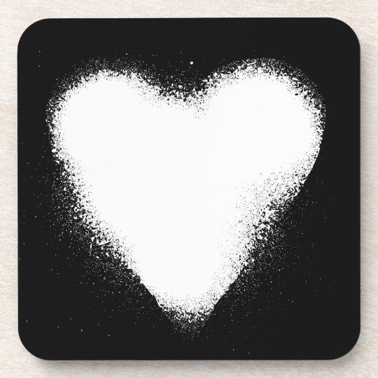 Card suit Heart white -  grunge Beverage Coaster
