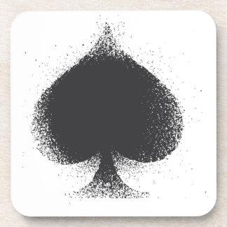 Card suit Spades black-  grunge Coaster