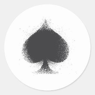 Card suit Spades -  grunge Classic Round Sticker
