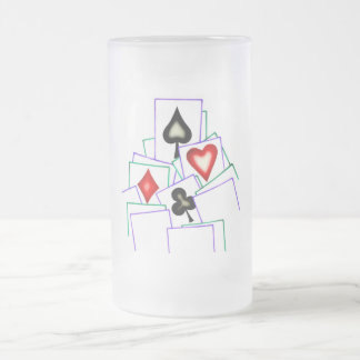 Card Suits 16 Oz Frosted Glass Beer Mug