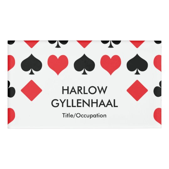 card suits casino name tag