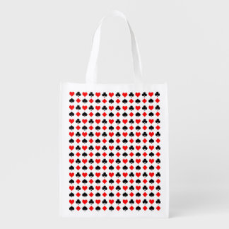 Card Suits Pattern Reusable Grocery Bag