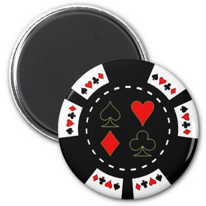 Card Suits Poker Chip 2 Inch Round Magnet