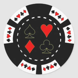 Card Suits Poker Chip Classic Round Sticker