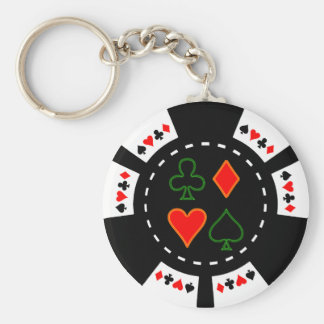 CARD SUITS POKER CHIP KEYCHAIN