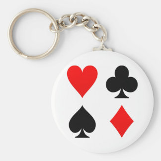 Card Suits Red and Black Keychains