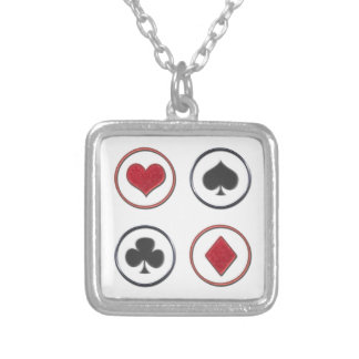 Card Suits Silver Plated Necklace